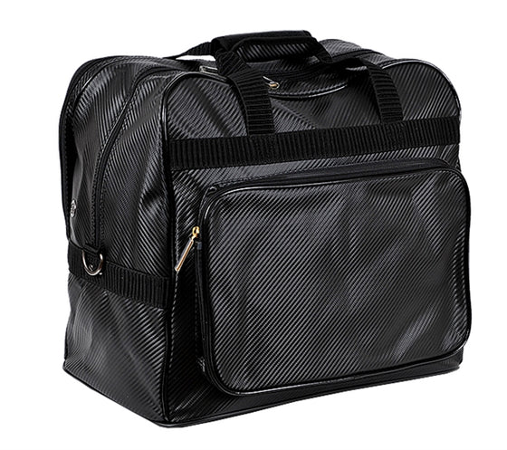 Full view of the black kanmuri compact bag.