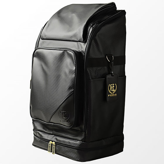 Full view of the black kanmuri backpack.