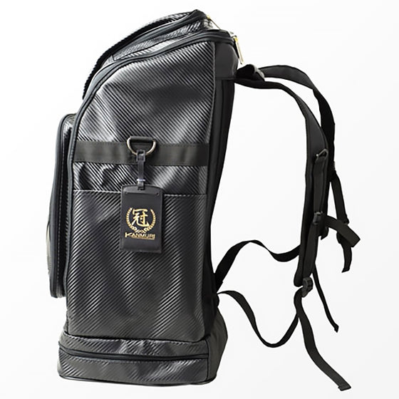 Side view of the backpack showing the straps.