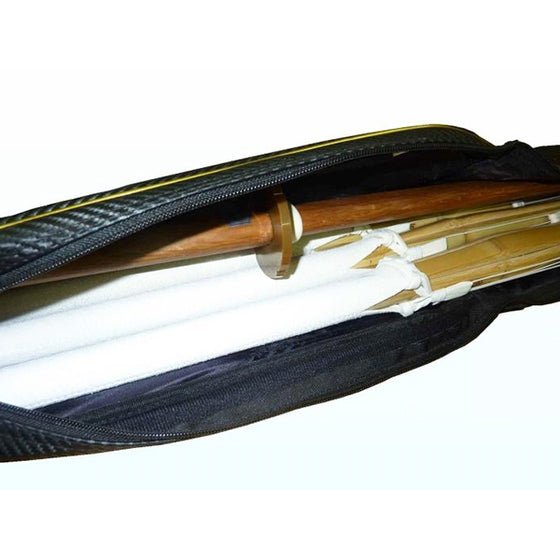 Inside view of the shinai bag with shinai and bokuto stored.