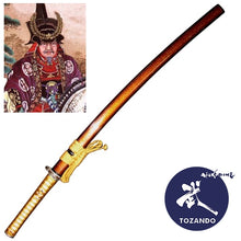 Full view of the iaito with the saya and the picture of Tokugawa Ieyasu