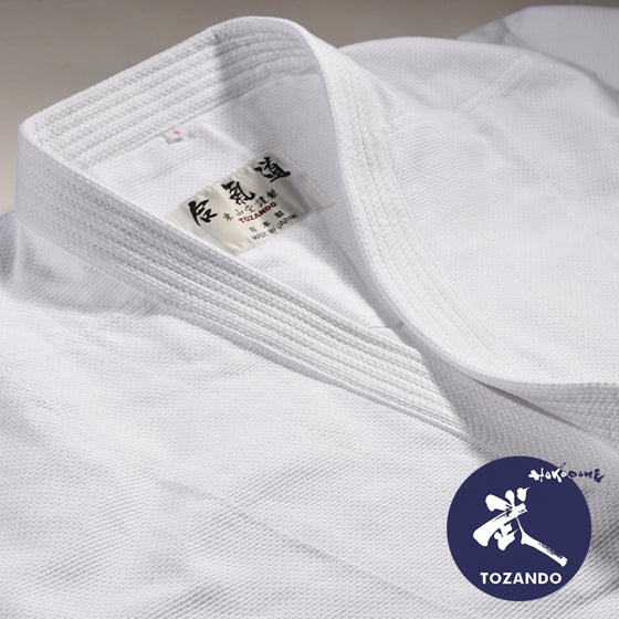 Close-up of a tailor made dogi jacket.