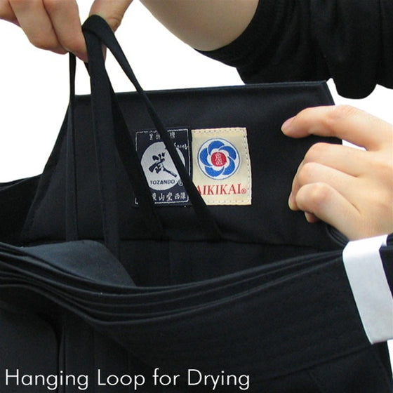 Deluxe Cotton Aikido Hakama TAKE hanging loop for drying
