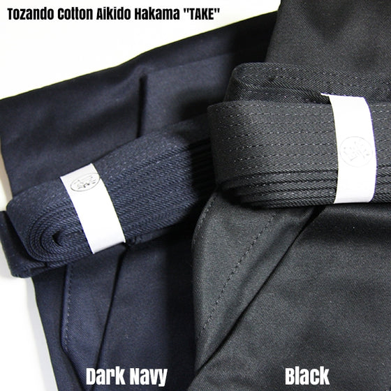 Deluxe Cotton Aikido Hakama TAKE dark navy and black