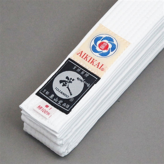 Aikido Obi White/Unbleached Belt tags