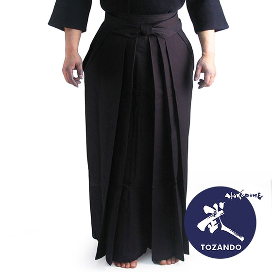 #8800 Hakama worn with dogi, full length view.
