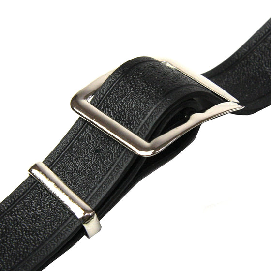 Close-up of the adjustable strap buckle.