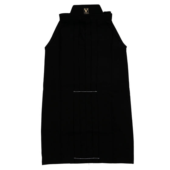 Full-length front view of the black hakama.