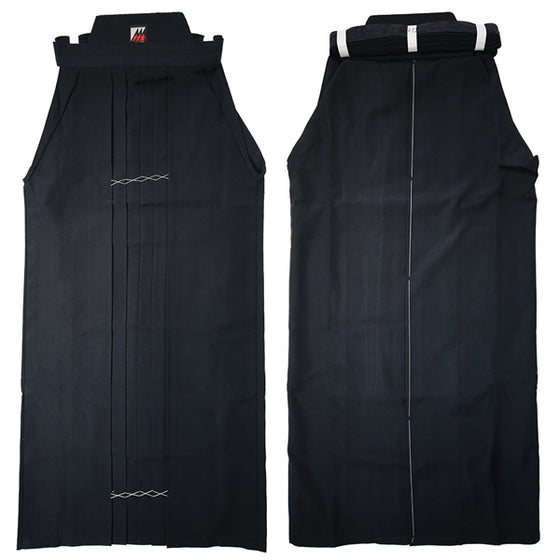 Side by side, front and back view of the full length black hakama.