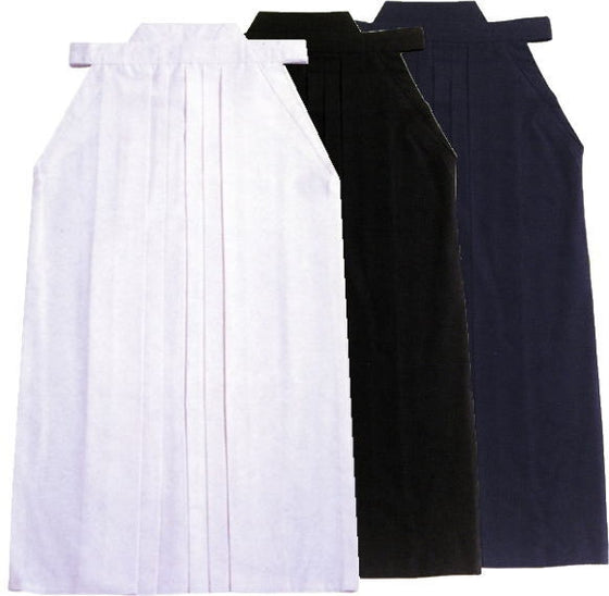 White, black and navy hakama side by side.