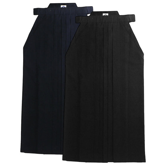 Mitsuboshi Memory Pleats Deluxe Tetron Aikido Hakama navy and black