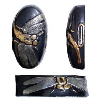 Blackened brass fittings depicting tombo dragonflies.