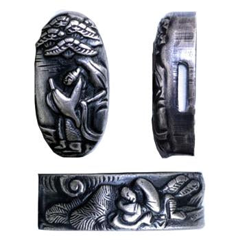 Copper fuchi and kashira depicting the artisan Soten.