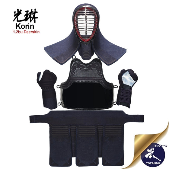 The korin bogu seen fully assembled and on a stand.