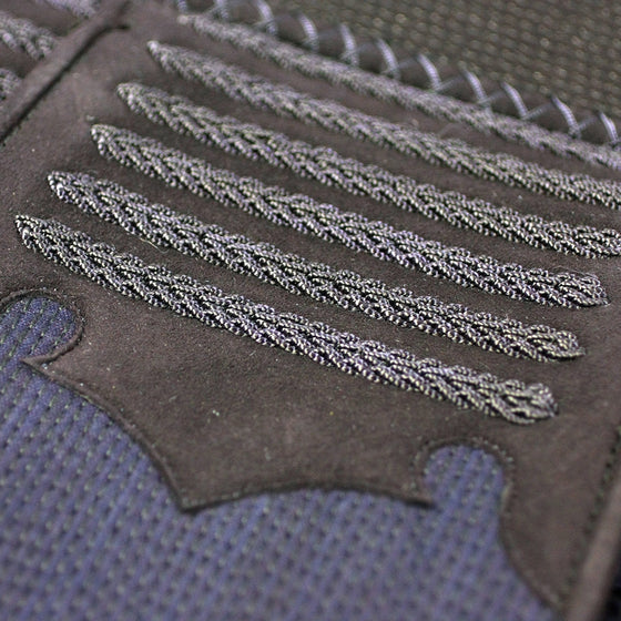 Close-up of the clarino leather reinforcement.