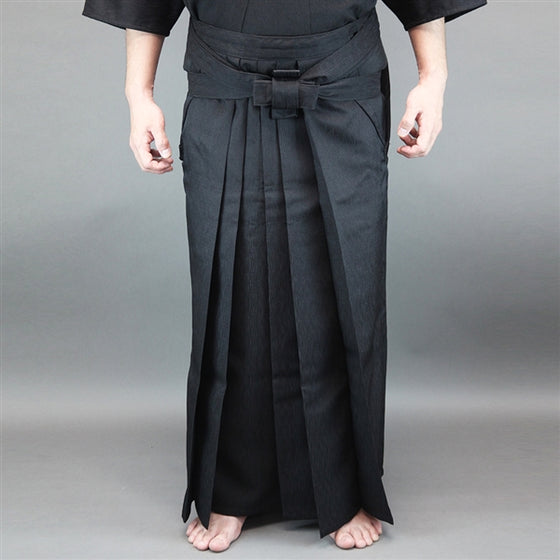 Full view of the hakama worn seen from the front.