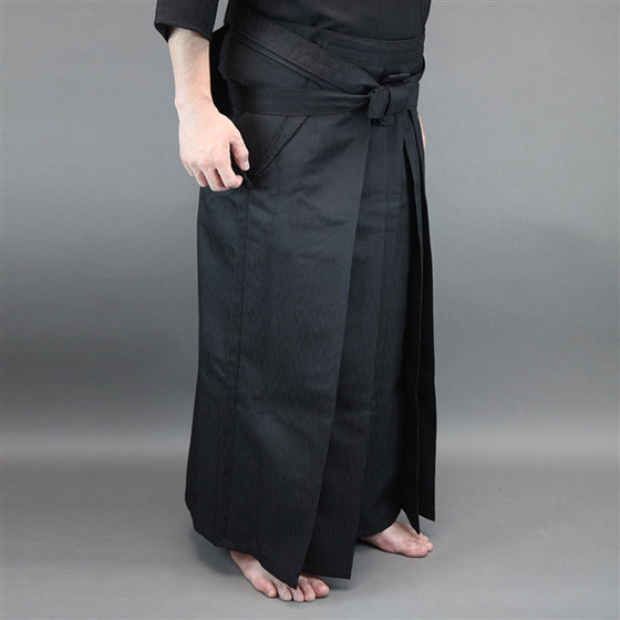 Side on view of the hakama when worn.