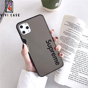 Fashion Supreme Style Mirror Silica Gel Designer iPhone Case For Iphone 11 Pro Max X XS XS MAX XR 7 8 Plus.