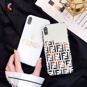 Fendi Style Electroplating Glossy TPU Silicone Designer iPhone Case For iPhone 11 Pro Max X XS XS Max XR 7 8 Plus.
