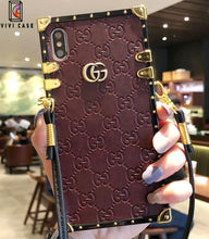 Load image into Gallery viewer, Gucci iPhone case Black 11 Pro Xs Max Xr 8 Plus leather Back.