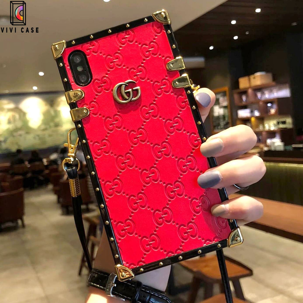 Gucci iPhone case Black 11 Pro Xs Max Xr 8 Plus leather Back.