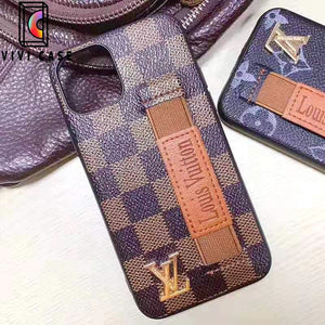 Louis Vuitton Style Leather Monogram Strap Designer iPhone Case For iPhone 11 Pro Max X XS XS Max XR 7 8 Plus.