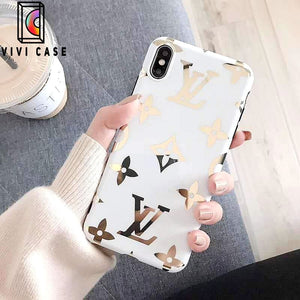 Louis Vuitton Style Monogram Electroplating Glossy TPU Silicone Designer iPhone Case For iPhone 11 Pro Max X XS XS Max XR 7 8 Plus.