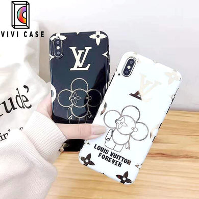 Louis Vuitton Style Takashi Murakami Electroplating Glossy TPU Silicone Designer iPhone Case For iPhone 11 Pro Max X XS XS Max XR 7 8 Plus.