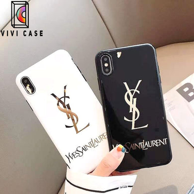 Saint Laurent Paris YSL Style Electroplating Glossy TPU Silicone Designer iPhone Case For iPhone 11 Pro Max X XS XS Max XR 7 8 Plus.