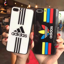 Load image into Gallery viewer, Adidas Logo Originals Tempered Glass Designer iPhone Case.
