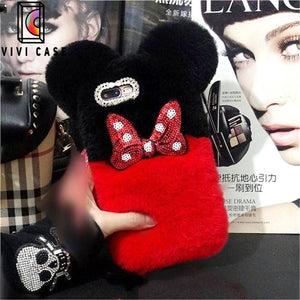 Cute Disney Style Mickey Minnie Diamond Lovely Fur Fluffy iPhone Case.