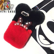Load image into Gallery viewer, Cute Disney Style Mickey Minnie Diamond Lovely Fur Fluffy iPhone Case.