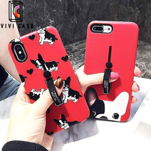 Cute French Bulldog Dog Lover iPhone Case With Kickstand Glider Holder.