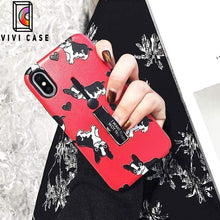 Load image into Gallery viewer, Cute French Bulldog Dog Lover iPhone Case With Kickstand Glider Holder.