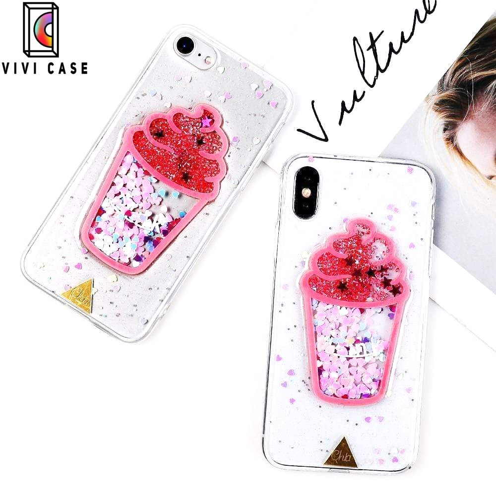 Cute Ice Cream Glitter Quicksand Transparent Protective iPhone Case Fo.