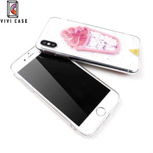 Load image into Gallery viewer, Cute Ice Cream Glitter Quicksand Transparent Protective iPhone Case Fo.