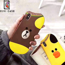 Load image into Gallery viewer, Cute Line Friends Bear Rabbit Duck Socks Silicone Designer iPhone Case.
