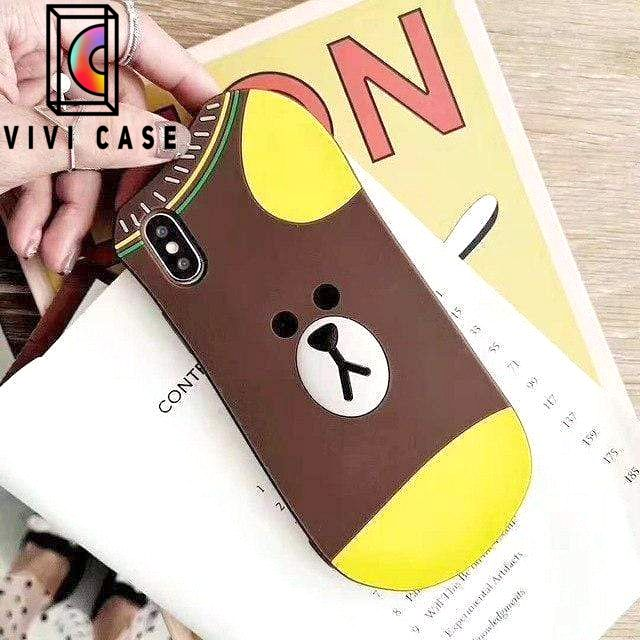 Cute Line Friends Bear Rabbit Duck Socks Silicone Designer iPhone Case.