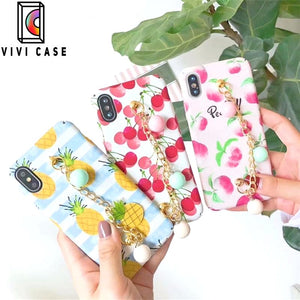 Luxury Pineapple Cherry Peach Glossy Silicone Designer iPhone Case.