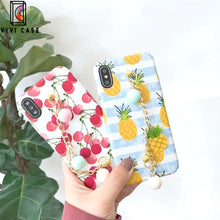 Load image into Gallery viewer, Luxury Pineapple Cherry Peach Glossy Silicone Designer iPhone Case.