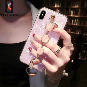 Luxury Shiny Pearl Shiny Glitter Jewel Hand Strap iPhone Case.