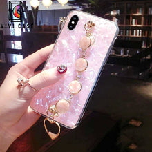 Load image into Gallery viewer, Luxury Shiny Pearl Shiny Glitter Jewel Hand Strap iPhone Case.