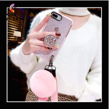 Load image into Gallery viewer, Princess 3D Diamond Pop Socket Transparent Fashion Luxury iPhone Case.