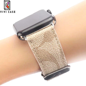 Coach Style Leather Compatible With Apple Watch Band Strap.