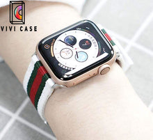 Load image into Gallery viewer, Gucci Style Modern Nylon Leather Hybrid Apple Watch Band Strap.