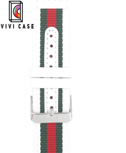 Gucci Style Modern Nylon Leather Hybrid Apple Watch Band Strap.
