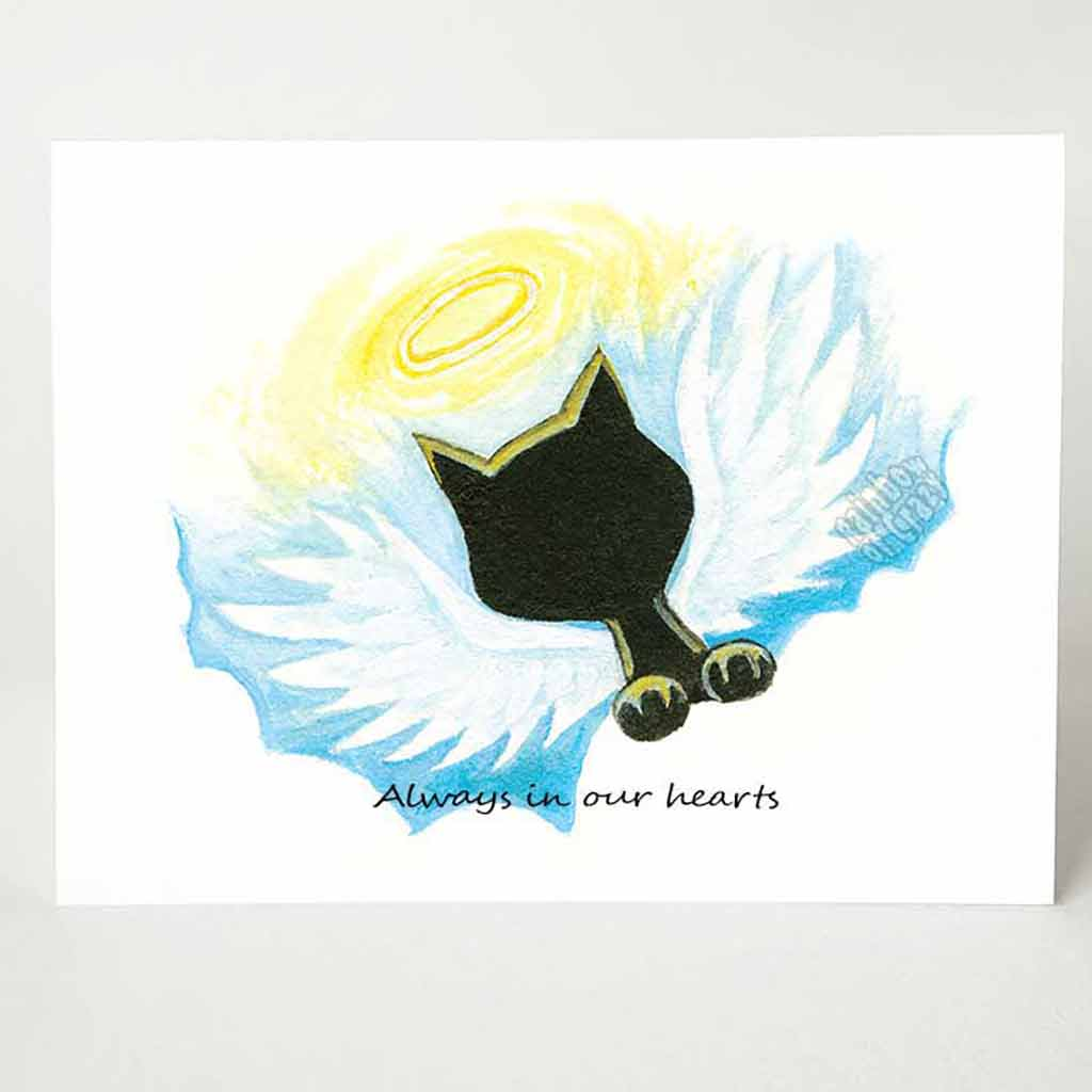 "A greeting card with a black cat angel on the front, that reads, ""Always in our hearts"""