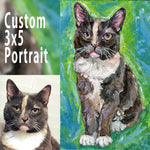 A custom pet portrait of a calico cat with brown, black, and white fur, and yellow eyes, painted with acrylic paint on 3x5 inch canvas board