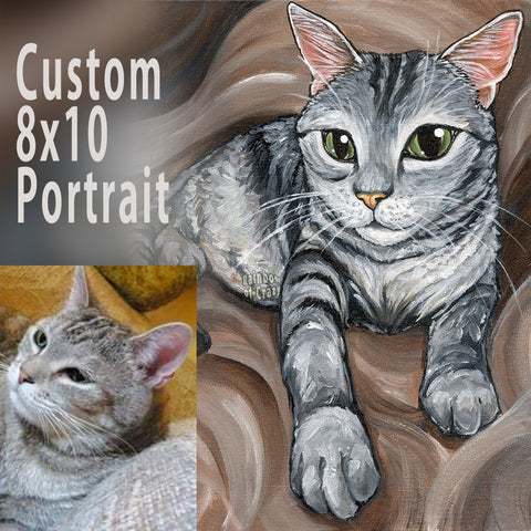 A custom 8x10 inch painting of a grey tabby cat, lying down in front of a swirly brown background.