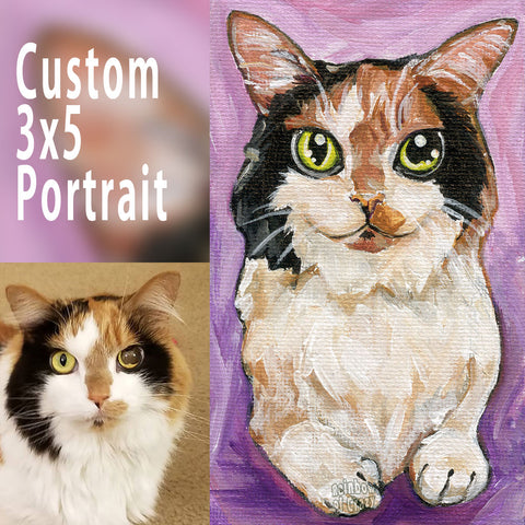 custom pet art of a cat with orange, black, and white fur, and yellow eyes, painted with acrylic paint on 3x5 inch canvas board